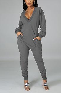 Sexy Long Sleeve Deep V Neck Slant Pocket Bodycon  Plus Jumpsuit N9259