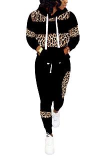 Conjuntos de calças compridas casuais simplee leopardo de manga comprida com capuz LD8626