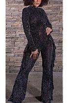 Сексуальные комбинезоны с длинными рукавами и длинными рукавами Simplee с воланами и широкими штанинами CCY8835