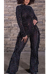 Sexy Simplee Sequins Long Sleeve Round Neck Flounce Wide Leg Jumpsuits CCY8835