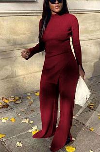 Conjuntos de calças compridas casuais de poliéster manga longa redondo pescoço dividido bainha camiseta HH8954
