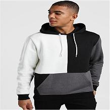 Fashion Street Casual Pullover Hooded Fleece Cube Spliced Fleece TW-11