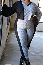 Big Size Womenswear Casual V Neck Long Sleeve Color Matching Rhombus Sweater Long Pant Sets NY5071