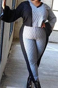 ملابس نسائية كبيرة الحجم برقبة على شكل V وأكمام طويلة وألوان متطابقة مع المعين سترة طويلة مجموعات NY5071