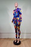 Sporty Sexy Pop Art Print Long Sleeve Round Neck Spliced Long Pants Sets WY6725