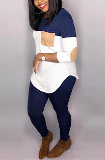 Conjuntos de calças compridas casuais de manga longa em volta do pescoço com emenda LD8614