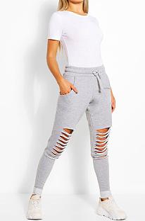 Calça comprida casual esportiva com cintura média rasgada LD8569