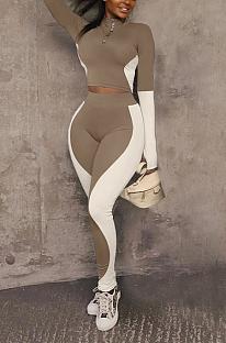 Sporty Polyester Long Sleeve Round Neck Spliced Tank Top Long Pants Sets YZM7124