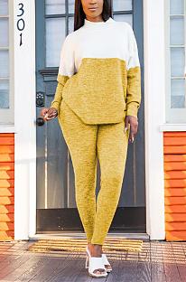 Conjunto de calças compridas casual poliéster geométrico de manga comprida redondo pescoço emendado camiseta TRS1093