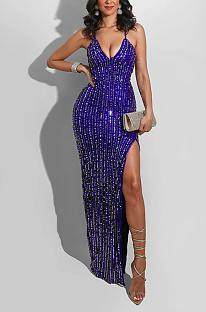فستان مثير بدون أكمام برقبة على شكل V وياقة على شكل حرف V وحزام انقسام وحافة L0333