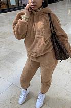 Casual Tweed Long Sleeve Hoodie Long Pants Sets CCY1332