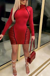فستان قصير مثير بياقة مستديرة وأكمام طويلة شبكي YY5427