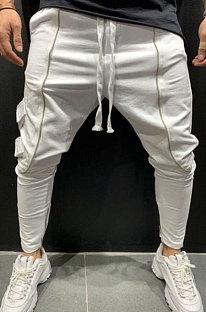 Calças de jogging de pés pequenos cultivam a moralidade lateral de bolso calça longa casual TW936