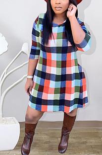 Sexy Gingham Half Sleeve Round Neck Midi Dress YY5250