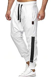 Calça comprida casual moda com costura de personalidade decoração calça esporte de cintura alta TW514