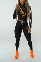 Sexy Polyester Letter Cartoon Graphic Long Sleeve Hoodie Mid Waist Long Pants Sets MN8089
