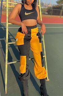 Calças compridas casuais de poliéster com bolso plano de cintura média e pernas largas CYY8063