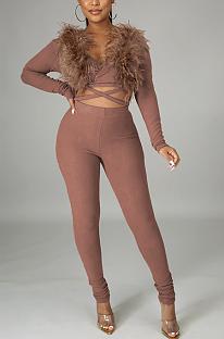 Modest Sexy Long Sleeve V Neck Crop Top Long Pants Sets YF8824