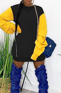Sexy Polyester Extra-Long Sleeve Round Neck Spliced Midi Dress DN8567