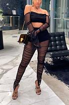 Sexy Nylon Long Sleeve Off Shoulder Shirred Detail Crop Top Long Pants Sets DN8342