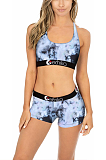 Casual Polyester Sleeveless Tank Top Low Waist Shorts Swimsuits Sets YMT6148