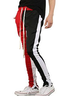 Calça esporte casual masculina dupla cor correspondente hip hop fitness calça comprida TW119