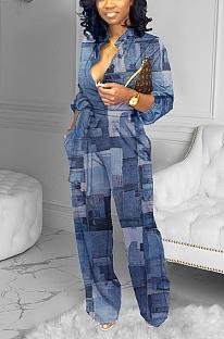 Elegant Long Sleeve Spliced Wide Belt Wide Legs Jumpsuits YFS3640