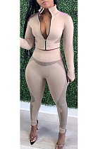 Casual Sporty Polyester Long Sleeve Round Neck Zipper Long Pants Sets YR8062