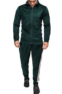Conjuntos casuais masculinos esportivos ao ar livre com zíper Cardigan da moda FT01
