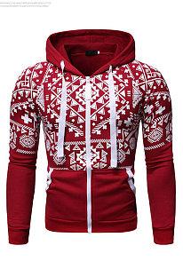 Digital Printing Jacket Man Casual Capuchon Lange mouw Ritsjas FT44