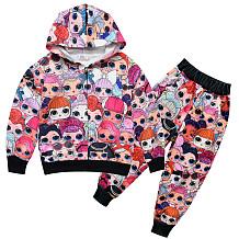 Big Eyed Doll Rits Capuchon Fleece Taille Broek Sets YBK525