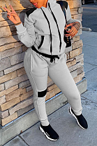 Casual Polyester Long Sleeve Spliced Slant Pocket Hoodie Long Pants Sets MLM9034