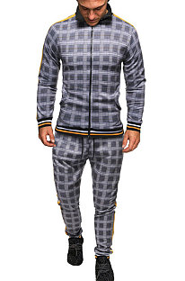 Casual Sets Man Lange Mouw Rits Mode Plaid Tweedelige FT03