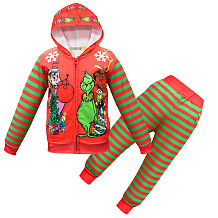 Groen Monster Grinch Sets Rits Hoodies Taille Broek YBK528