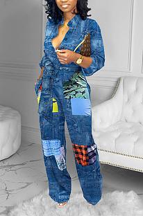 Fashion Elegant Polyester Long Sleeve Lapel Neck Spliced Wide Belt Wide Leg Jumpsuits YFS3642