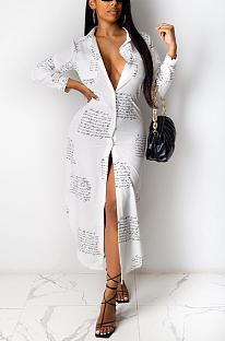 Vestido casual Simplee Camo manga longa lapela pescoço longo R6383