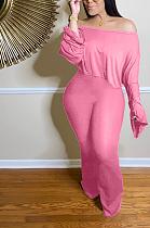 Casual Polyester Long Flare Sleeve Tee Top Long Pants Pants Wide Leg Pants Sets YZL825