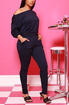 Casual Polyester Long Sleeve Off Shoulder Slant Pocket Ruffle Tee Top Mid Waist Long Pants Sets Q750