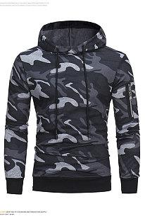 Camo Fleece Casual Brushed Hoodies Printing Loose Long Sleeve Coat FT05