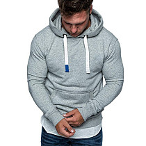 Man Hooded Fleece Brushed Pure Color Hoodies FT55