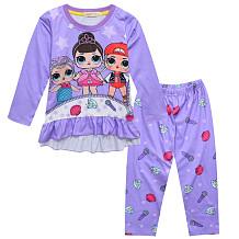 Desenhos animados para crianças Boneca de olhos grandes para meninas, serviço doméstico, calças compridas, cintura, conjuntos YBK0508