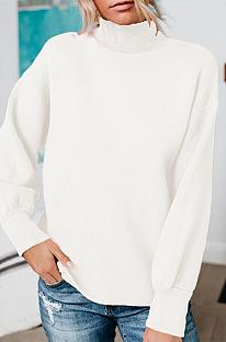 Осень-зима вяжет повседневные свитера с длинным рукавом и воротником-стойкой Q752