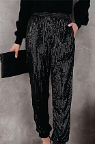Fashion Casual Polyester Slant Pocket Sequins Mid Waist Long Pants Q751