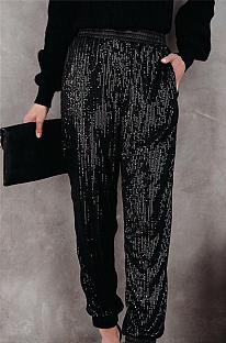Moda casual de poliéster inclinada com bolso de lantejoulas calça comprida de cintura média Q751