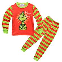 Green Monster Grinch Children Home Service Tweedelige nachtkleding met lange mouwen YBK531