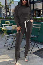 Casual Simplee Long Sleeve Round Neck Long Pants Sets BLE2214