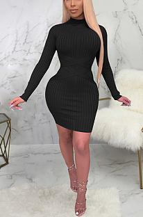Sexy midi-jurk van polyester met lange mouwen, ronde hals en middelhoge taille SMR9873