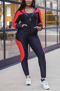 Conjuntos de calças compridas casuais sexy de manga comprida com capuz de cintura média SMR9948
