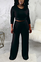 Casual Long Sleeve Round Neck Tee Top Mid Waist Wide Leg Pants Sets SMR9691