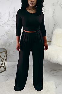 Conjuntos de calças casuais de manga comprida em volta do pescoço em camiseta de cintura média e perna larga SMR9691